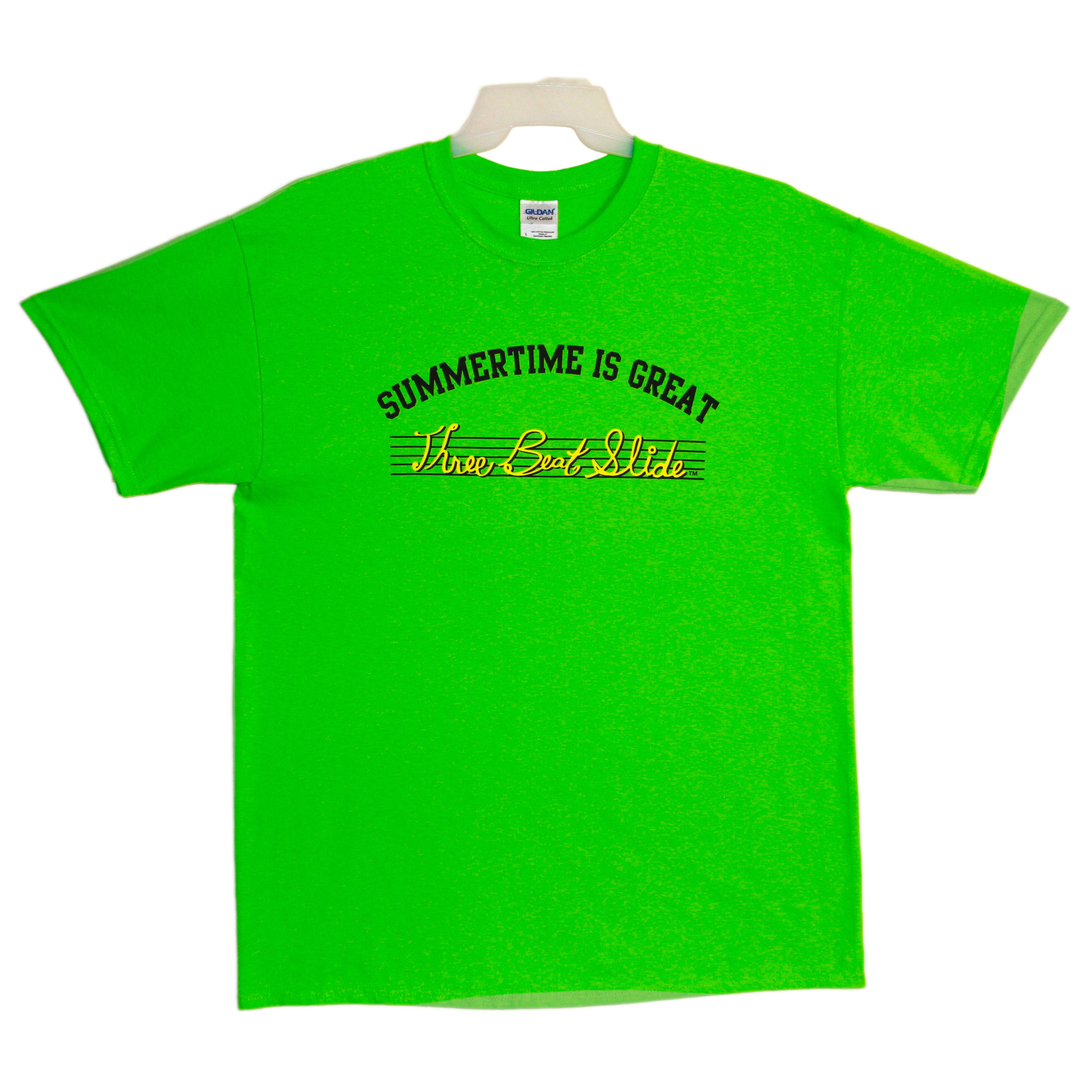 Summertime Is Great Official Lime Green T Shirt Three Beat Slide